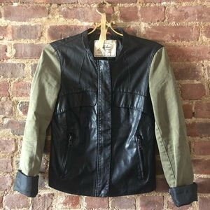 Faux Leather and Canvas Jacket in Army Green